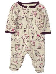 Infant Girls Beige Cotton Fox Owl Sloth Bunny Baby Sleeper Footie Pajamas