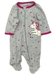 Infant Girls Gray Cotton Unicorn Themed Baby Sleeper Footie Pajamas