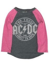 AC/DC Toddler Girls Long Sleeve Gray & Pink ACDC Rocker T-Shirt Tee Shirt
