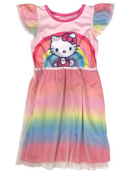 Hello Kitty Toddler Girls Silky Pink Rainbow Sparkle Cat Nightgown Night Gown