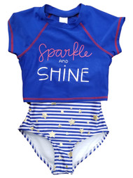 Girls Fourth of July 2 Piece Red White Blue Stars Stripes Bathing Swimsuit