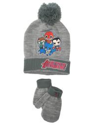 Justice League Toddler Boys Gray  Batman Superman Beanie Hat & Mittens Set 2T-5T