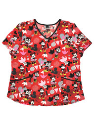 Disney Womens Red Stretch Minnie Mouse Valentines Medical Scrubs Shirt