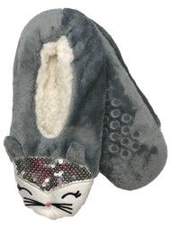 Womens Plush Gray Sherpa Sequin Kitty Cat Ballet Slippers House Shoes OSFM