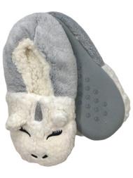 Womens Plush Gray & White Sherpa Unicorn Ballet Slippers House Shoes OSFM