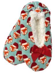 Womens Blue Sherpa Holiday Santa Fox Ballet Slippers Holiday Shoes OSFM