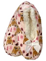 Womens Pink Sherpa Holiday Santa Sloth Ballet Slippers Holiday Shoes OSFM