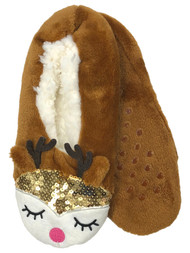 Womens Plush Brown Sherpa Sequin Reindeer Ballet Slippers House Shoes OSFM