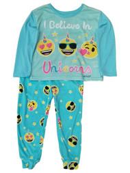 Emoji I Believe In Unicorns Pajamas Blue Green Sleep Pants T-Shirt Set XS (4/5)