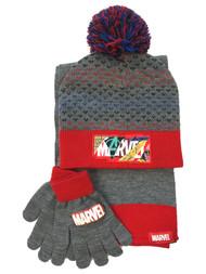 Marvel Boys Gray & Red 3 Piece Superhero Scarf Beanie Hat & Gloves Set