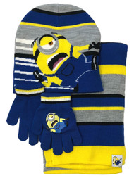 Despicable Me Boys Blue 3 Piece Minions Scarf Beanie Hat & Gloves Set