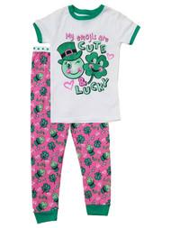 Toddler Girls St. Saint Patricks Day Lucky Clover Emoji Green Pink Pajama Set 4T