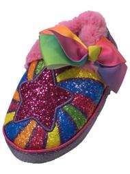 Jojo Siwa Toddler Girls Pink Rainbow Glitter Star Slippers House Shoes