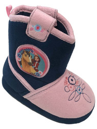Spirit Movie Toddler Girls Pink & Blue Horse Slippers Boots House Shoes