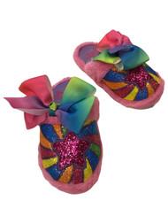 Jojo Siwa Girls Pink Glitter Rainbow Star Slippers Bow House Shoes