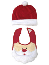 Baby Essentials Infant Boys & Girls Santa Claus Christmas Holiday Hat & Bib Set