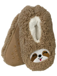 Girls Fuzzy Brown Sherpa Sloth Ballet Slippers House Shoes