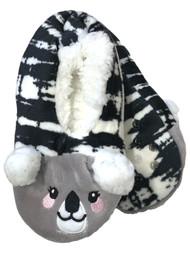 Girls Black & White Sherpa Koala Bear Ballet Slippers House Shoes
