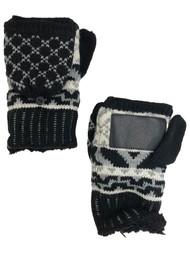 Isotoner Womens Black & Gray Knit Sherpa Soft Fingerless Convertible Gloves
