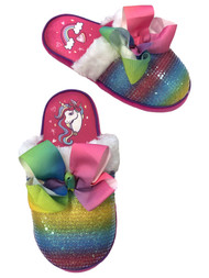 Jojo Siwa Girls Pink Sparkle Rainbow Sequin Slippers Bow House Shoes