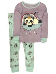 Infant & Toddler Girls Purple Cotton Panda Bear Pajamas Baby Sleep Set