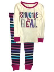 Infant & Toddler Girls Striped Cotton Snuggle is Real Pajamas Baby Sleep Set