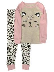 Infant & Toddler Girls Pink Cotton Leopard Kitty Cat Pajamas Baby Sleep Set