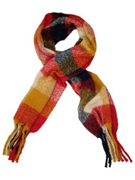 Womens Red Yellow White Blue Cozy Warm Big Blanket Scarf 76 by 21 Inches