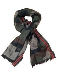 Womens Dark Green Camo Red Warm Big Blanket Scarf Fringe 70 by 27 Inches
