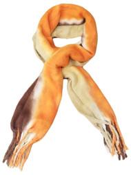 Womens Orange Brown Tan Cream Cozy Warm Big Blanket Scarf 76 by 20 Inches