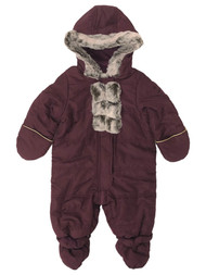 Infant Girls Quilted Burgundy Hoodie Snowsuit Baby Pram Snow Suit