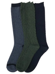 Muk Luks Womens 3 Pair Tall Boot Socks Green & Navy Blue