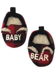 Dearfoams Infant Boys & Girls Red Buffalo Plaid Baby Bear Slippers Shoes