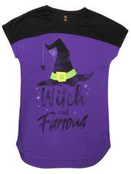 Womens Purple Witch & Famous Halloween Nightgown Sleepshirt Sleep Shirt