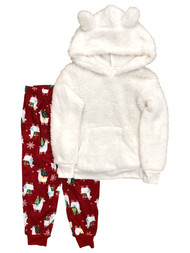 Wondershop Girls Fuzzy LLama Christmas Holiday Pajamas Joggers Sweatshirt