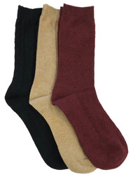 Muk Luks Womens 3 Pair Boot Socks Textured Black Tan & Burgundy