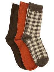 Muk Luks Womens 3 Pair Boot Socks Brown Checked & Orange Ribbed