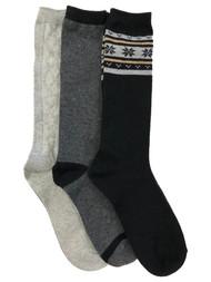 Muk Luks Womens 3 Pair Tall Boot Socks Black & Gray Snowflake