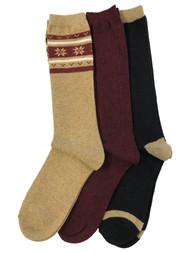 Muk Luks Womens 3 Pair Tall Boot Socks Tan Black Burgundy Snowflake