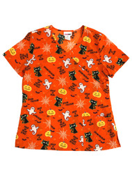 Womens Orange Halloween Ghost Cat Trick or Treat Stretch Scrubs Shirt