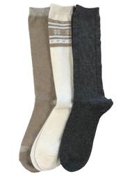 Muk Luks Womens 3 Pair Tall Boot Socks Ivory Tan & Gray Snowflake