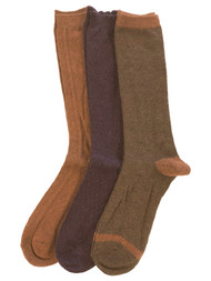 Muk Luks Womens 3 Pair Tall Boot Socks Purple Brown & Orange