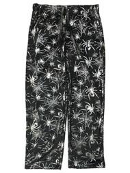 Womens Black & Silver Spider Halloween Sleep Pants Pajama Bottoms
