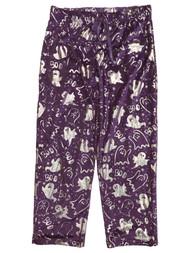 Womens Purple & Silver Ghost Halloween Sleep Pants Pajama Bottoms