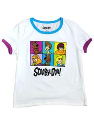 Scooby Doo Junior Womens White Shaggy Velma Fred Daphne T-Shirt Shirt