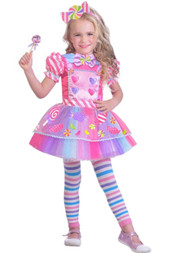 Toddler Girls Pink Candy Girl Tulle Halloween Costume Dress 3T- 4T
