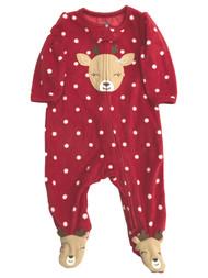 Carters Infant Baby Girls Red Dot Fleece Reindeer Holiday Sleeper Pajama