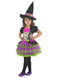 Goodmark Toddler Girls Purple Ruffle Stitch Witch Costume Dress & Hat