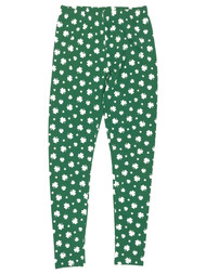 Junior Womens Green 4 Leaf Clover Shamrock St Patrick Leggings Pants