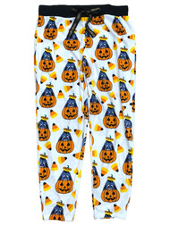 Disney Womens White Fleece Eeyore Halloween Jogger Sleep Pants Pajamas